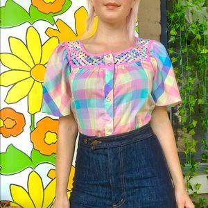 Vintage 70s pastel rainbow striped plaid blouse S